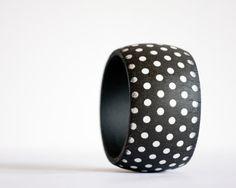 Polka Dot Bangle, Black and white bracelet, Eco Friendly wooden bangle,Gift for her, Women Fashion
