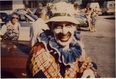 Dad the Clown  A photograph from Dad clowning for the Jupiter Christmas Parade. He loved to do this with Sparger. Why? He always was a performer. He was always on stage, never better than when he had an audience. He did have his Jerry Lewis side. He was Mister Man full of glitter charisma and charm. Like a movie star, like a rock star. Another afterlife photo.