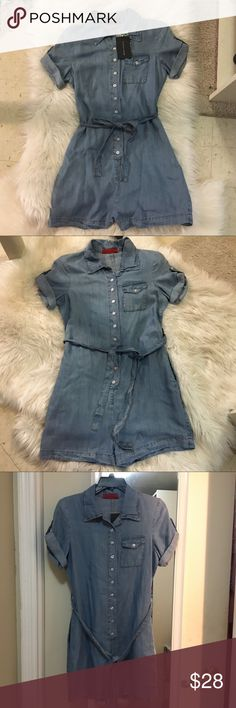 NWT Denim romper size small Denim romper new with tags never worn perfect condition. Size small can also can fit extra small. Pockets on both sides. Tie waste. Bought at boutique called reign. Reign Boutique Pants Jumpsuits & Rompers
