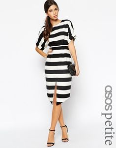 ASOS PETITE Exclusive Stripe Wiggle Dress with Split Front and Wrap Back - Now this is elegant. http://asos.do/kiznNK