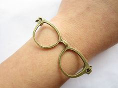 Braceletantique bronze glasses & alloy chain by lightenme on Etsy, $3.50