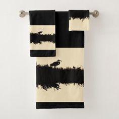 Heron Bird Wildlife Animals Bath Towel Set - animal gift ideas animals and pets diy customize