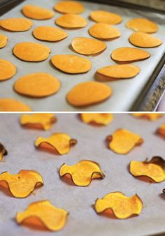 'Homemade sweet potato chips! Oil-free & easy to prepare, these chips are perfect for satisfying your crunchy, salty cravings.'