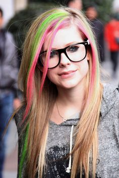Davis Vision - Avril Lavigne punks her glasses up with multicolored hair.
