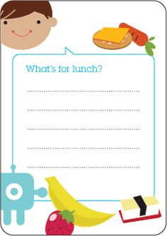 Printable: Lunch Box Menus from Jennifer Vallez at Classicplay.com.  Classin' up lunch for your little one