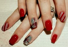 Breathtaking Red Nails With Silver Glitters And Red Bow #christmasnails #christmasnailart #naildesigns