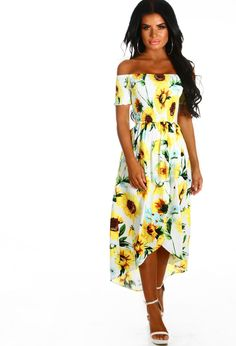 1f5e814475e Miss Mykonos White Sunflower Print Bardot Midi Dress - 6