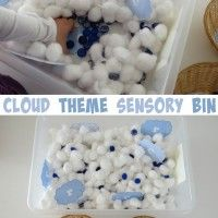 """Cloud theme sensory bin- cotton wool clouds and blue gems for rain by learning 4 kids The aim of the sensory tub is to search and find the printable cloud letters and sort them into groups """"C is for Cloud"""" and """"R is for Rain"""". Sensory Tubs, Sensory Activities, Sensory Play, Preschool Activities, Nanny Activities, Kindergarten Crafts, Preschool Curriculum, Preschool Lessons, Winter Activities"""
