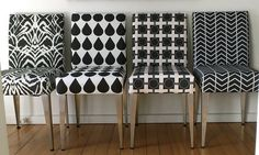 Salvaged dining chairs reupholstered in black and white fabrics by Ninaribena http://www.spoonflower.com/profiles/ninaribena