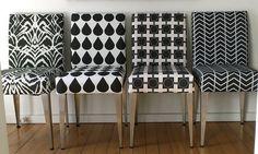 Salvaged dining chairs reupholstered in black and white fabrics by Ninaribena http://www.spoonflower.com/profiles/ninaribena