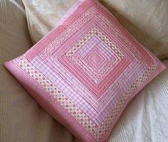 Pink Log Cabin Patchwork Cushion-I like the quilting of the strips