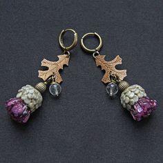 Distel  Lampwork Ohrringe mit Bronze verlässt. von MyGlassberry