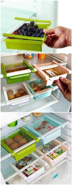 Dica de organização para a geladeira – Otimização de espaços – Organizador multiuso para prateleiras
