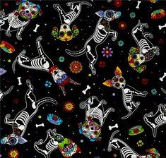 Telas retro - Tela FQ :: day of the dead pups :: - hecho a mano por nosgustanlosretros en DaWanda