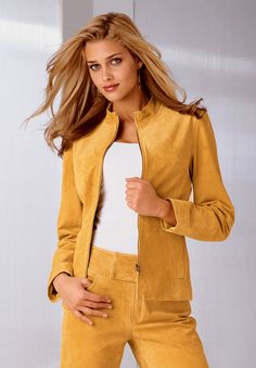 suede jacket and trousers