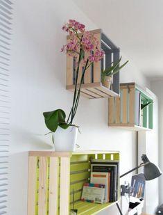 14 wandregal holz weinkisten in bunten farben pflanze stehlampe bücher arbeitszimmer