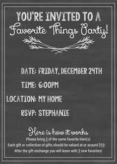 How to host a Favorite things party including free Facebook invite, printable invitations and printable gift tags! Everything you need to know!