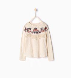 Imagen 1 de Camiseta flecos de Zara