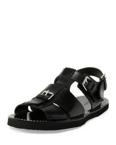 DRIES VAN NOTEN Leather Buckle Sandal, Black. #driesvannoten #shoes #sandals Shoes Sandals, Dress Shoes, Heels, Flat Sandals, Leather Sandals, Leather Buckle, Women Sandals, Huaraches, Beautiful Shoes