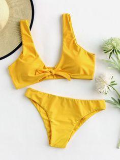 Bow Tie Front Plunge Neckline Bikini Set -SheIn(Sheinside)