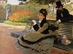 Camille Monet on a Garden Bench, 1873 - Claude Monet (French, 1840-1926) Impressionism