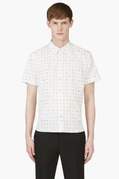 PAUL SMITH JEANS White Short Sleeve Slim Fit Hieroglyphic Shirt