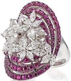 Stunning diamonds and ruby floral ring. Vintage design. And beauty sparkle i like It ♥ SLVH ♥♥♥♥