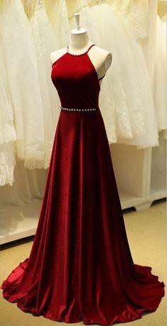 High Neckline Floor Length Red Wine Taffeta Fabric