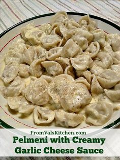 Pelmeni with Creamy Garlic Cheese Sauce Recipe - From Val's Kitchen