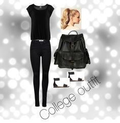 College outfit by slothscribe.My Polyvore is up! I did an edit of most of my social media. Aside from Twitter, Instagram, and Goodreads, you can now find me on IMDb.com, MyAnimeList.net, and... College Outfits, Black Jeans, Social Media, Lifestyle, Twitter, Polyvore, Pants, Instagram, Fashion