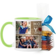 Home Is With You Mug, Green, with Ghirardelli Minis, 11 oz, Brown