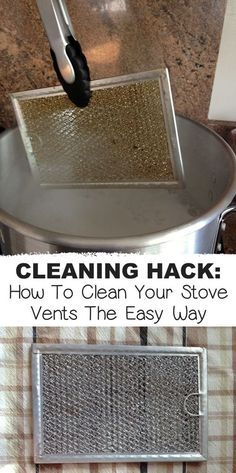 My favorite cleaning hack yet! This is the easiest way to clean stove vents, and get every little nook and cranny clean and odor free. This kitchen cleaning tip requires just a pot of boiling water and baking soda-- all natural! #cleaninghacks #tipsandtricks #cleaning #cleaningtips #kitchen #instrupix #lifehack