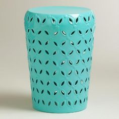 One of my favorite discoveries at WorldMarket.com: Baltic Blue Lili Punched Drum Stool