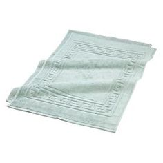 """Set of two Egyptian cotton bath mats in sage with Greek key trim.    Product: Set of 2 bath mats    Construction Material: Egyptian cotton    Color: Sage   Dimensions: 22""""  x 35"""" each"""
