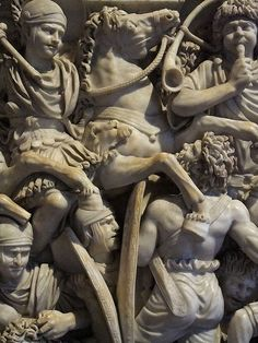 Grand Ludovisi Battle Sarcophagus depicting Roman conquest of Barbarians 2nd - 3rd century CE Proconnesian Marble