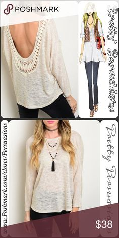 """NWT Crochet Scoop Back Long Sleeve Knit Top NWT Cream Crochet Scoop Back Long Sleeve Top  Available in sizes S, M, L Measurements taken from a size small  Length: 26"""" Bust: 36"""" Waist: 40""""  rayon/poly blend  Features  • gorgeous crochet & strap back detailing • soft, lightweight, breathable material • plunging back • rounded neckline  • long sleeves  • relaxed, easy fit  Bundle discounts available  No pp or trades  Item # 1/16220210BCT MARLED KNIT Pretty Persuasions Tops"""