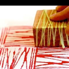Creating printmaking matrices using common materials (yarn and wood block here) Pattern making
