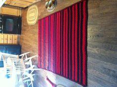 Chicago Bulls colors. Granny stripe blanket I made for my grandson, Kadyn. ~~by Ronda
