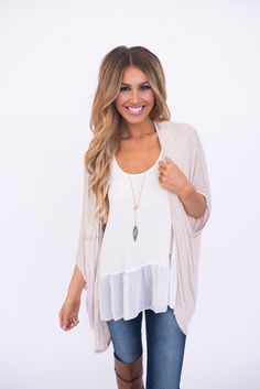 Soft Open Cardi- Beige - Dottie Couture Boutique