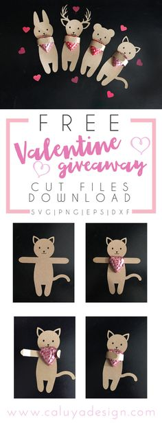 valentine's day free SVG cut file download with Cricut and Cameo Silhouette cutting machine. Cutest candy wrapping idea for Valentine's Day candy giveaway! Free SVG cut file download, free DXF cut file download, Free animal SVG cut file, Free bunny SVG cut file, deer SVG cut file, cat SVG cut file, Valentine DIY project for Cricut, Valentine DIY project for Cameo Silhouette, adorable DIY giveaway candy