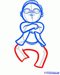 how to draw psy, gangnam style step 7