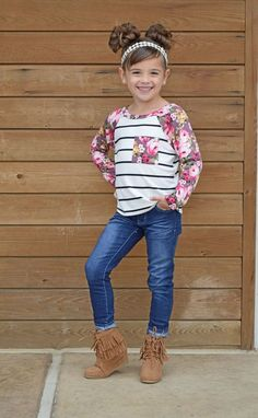 Little Girls Pocket Top, Floral Top, Kids Fashion, Striped Top, Online Shopping, Online Boutique, Ryleigh Rue Clothing, Kids Boutique, Spring Fashion