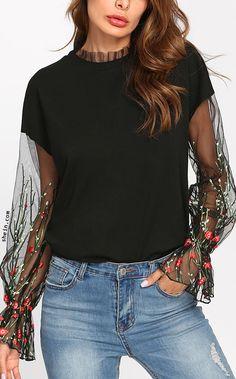 Botanical Embroidered Mesh Sleeve Sweatshirt