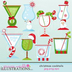 Christmas Cocktails Cute Christmas Digital Clipart for Invitations, Card Design, Scrapbooking, and Web Design, Christmas Clipart. $5.00, via Etsy.