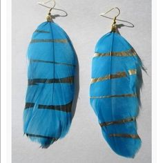 Feather Earrings Turquoise Feather with streaks of gold to compliment the earrings Jewelry Earrings
