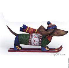 Купить Собака на лыжах. Скульптура. Дерево. Ручная роспись - оригинальный подарок, авторская работа, скульптура