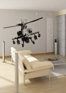uBer Decals Vinyl Wall Decal Sticker Apache Helicopter Apache Helicopter 36Hx45W