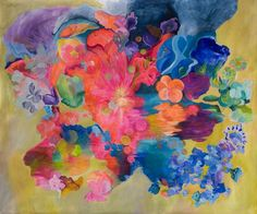 """Saatchi Online Artist Irina Rosenfeldt; Painting, """"SWIM AT NIGHT"""" #art Elements from nature not shown as such, but as pure energy source of energy from within the color. Flowers as awide open symbolism.  Powerful vibratoes, highly saturated colours generate a vibrant euphoria that does not calm down, they keep operating even at a distance. Just in the middle of feelings and thoughts, searching for a deep idea, acknowledging that in uncertainty truth will appear."""