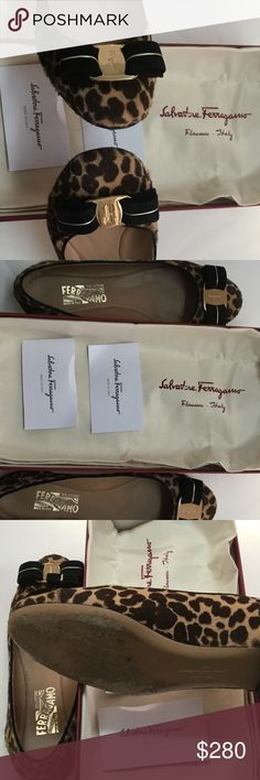 Authentic Salvatore Ferragamo Varina Calf Shoes Pre- owned in excellent condition. Georgeous shoes with pony hair leopard body print. Box and dust bag included. Salvatore Ferragamo Shoes Flats & Loafers