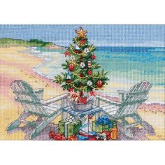 "Christmas On The Beach Counted Cross Stitch Kit-7""X5"" 18 Count"